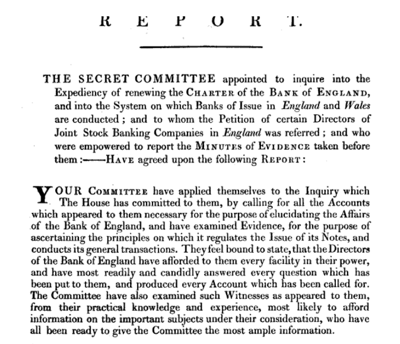 Report of the Committee of Secrecy on the Bank of England charter with the minutes of evidence apx and index   Google Books 3