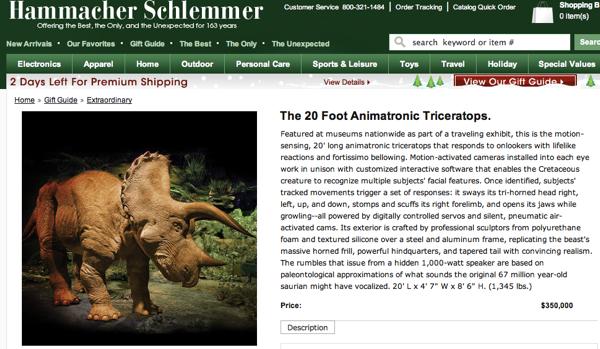 The 20 Foot Animatronic Triceratops  Hammacher Schlemmer