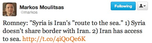Twitter   markos Romney  Syria is Iran s