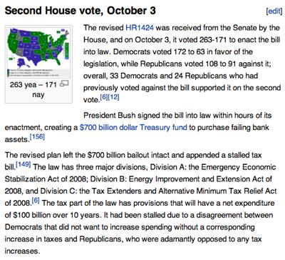 Emergency Economic Stabilization Act of 2008  Wikipedia the free encyclopedia