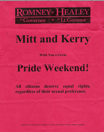 Mitt Romney Campaign Disavows Pro Gay Rights Flyer From 2002