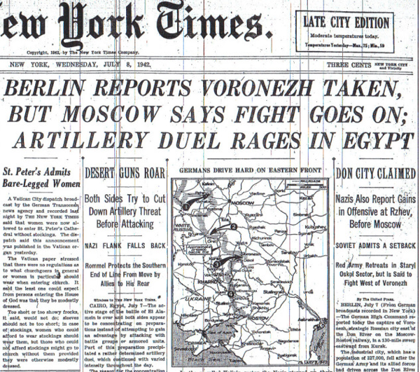 BERLIN REPORTS VORONEZH TAKEN ARTILLERY DUEL RAGES IN EGYPT  7 8 42