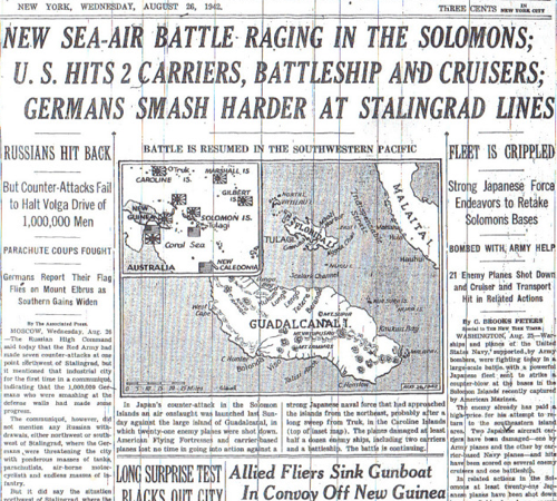 NEW SEA AIR BATTLE RAGING IN THE SOLOMONS GERMANS SMASH HARDER AT STALINGRAD LINES  8 26 42