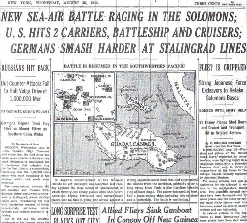 NEW SEA AIR BATTLE RAGING IN THE SOLOMONS GERMANS SMASH HARDER AT STALINGRAD LINES  8 26 42