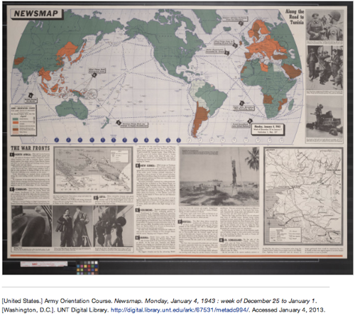 Newsmap Monday January 4 1943  week of December 25 to January 1 Sequence 1 | UNT Digital Library 1