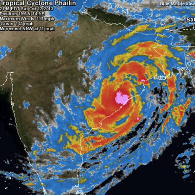 Phailin 2013 Storm Centered Satellite Image Weather Underground