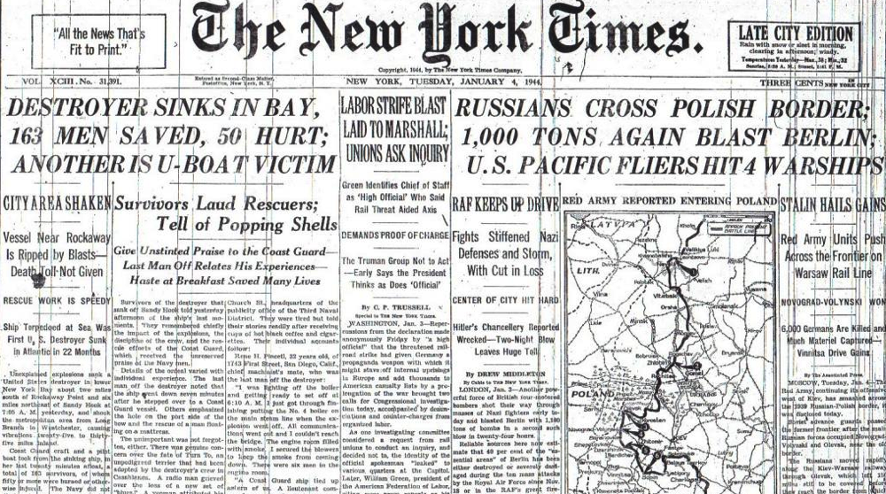 RUSSIANS CROSS POLISH BORDER U S PACIFIC FLIERS HIT 4 WARSHIPS 1 4 44