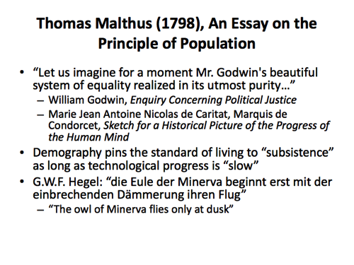 in 1798 the essay on the principle of population was published by Thomas robert malthus frs (/ in 1820 malthus published principles of political economy 1836: a commentary on malthus's 1798 essay on population as social theory.