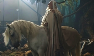 Gandalf and Shadowfax on set Peter Jackson