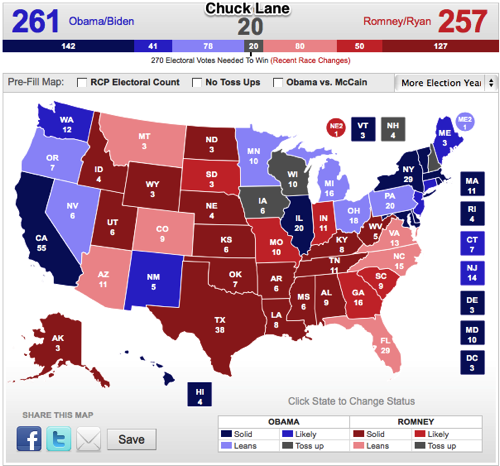 RealClearPolitics 2012 Election Maps Obama vs Romney Create Your Own Electoral Map