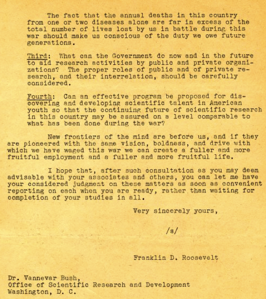 Copy of a letter from Franklin D Roosevelt to Vannevar Bush Page 2 November 17 1944 Correspondence The Scientific War Work of Linus C Pauling