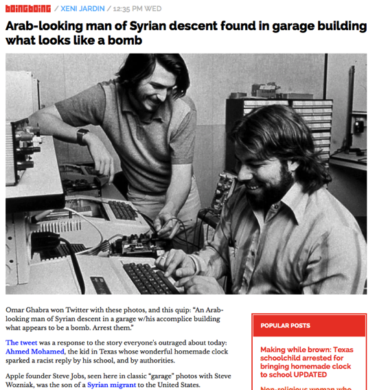 Arab looking man of Syrian descent found in garage building what looks like a bomb Boing Boing