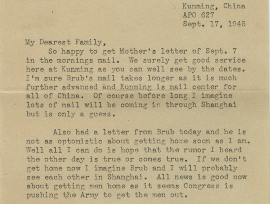 Letter from Corporal Park B Fielder to his family September 17 1945 Sequence 1 The Portal to Texas History