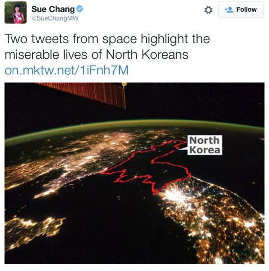Sue Chang on Twitter Two tweets from space highlight the miserable lives of North Koreans http t co TBKQa56U0r http t co LkFYxwmvZD