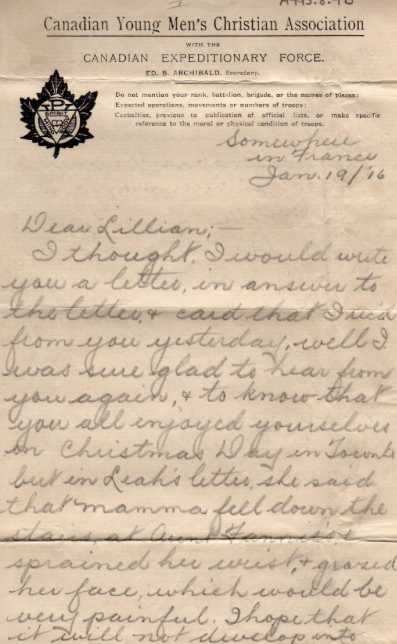 January 19 1916 Letters From The Trenches