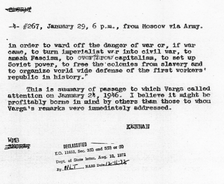 Telegram George Kennan to James Byrnes January 29 1946 Harry S Truman Administration File Elsey Papers