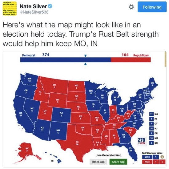 Nate Silver on Twitter Here s what the map might look like in an election held today Trump s Rust Belt strength would help him keep MO IN https t co OYueYvWFpG