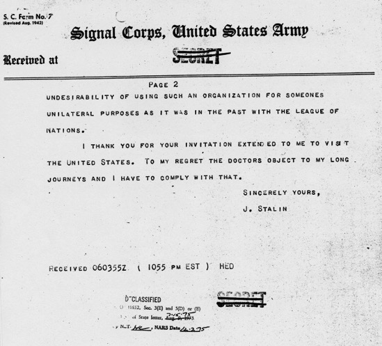 Telegram Josef Stalin to Harry S Truman with related material April 6 1946 President s Secretary s File Truman Papers