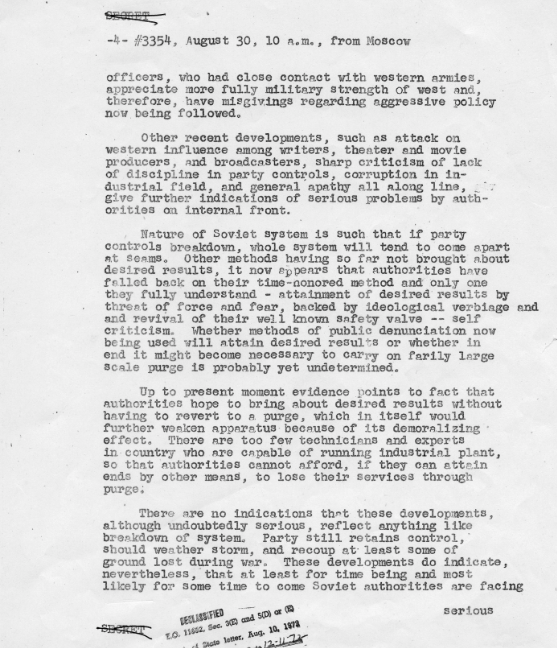 Truman Library Telegram Elbridge Durbrow to James Byrnes August 30 1946 Elsey Papers Harry S Truman Administration File Foreign Relations Russia 1946 report American Relations with the Soviet Union 2 of 13