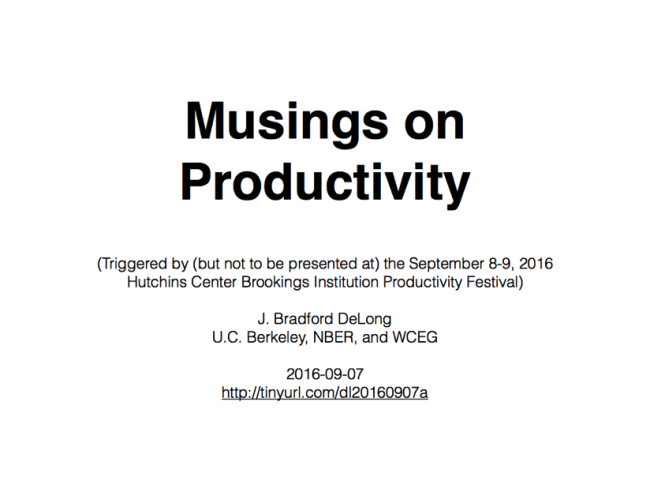 Musings on Productivity