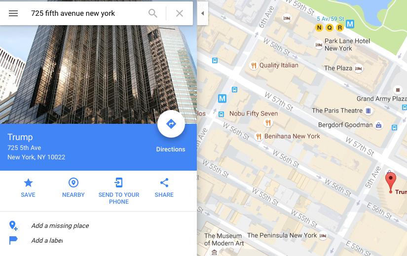Trump Google Maps