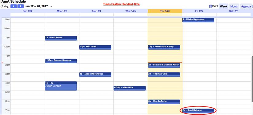 Cursor and IAmA Schedule