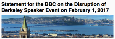 Statement for the BBC on the Disruption of Berkeley Speaker Event on February 1 2017