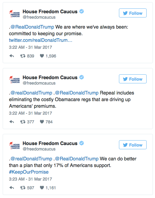 House Freedom Caucus Volleys Back In Donald Trump s Twitter War