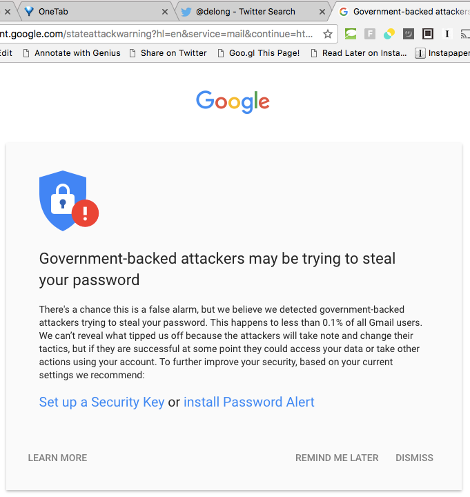 Government backed attackers may be trying to steal your password