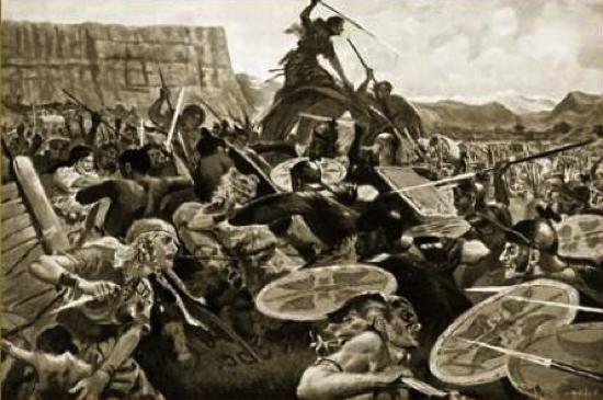 Framed picture John Harris Valda The Battle of Aquae Sextiae 102 B C 80 x 54 Wood Corum S Gold Amazon co uk Kitchen Home