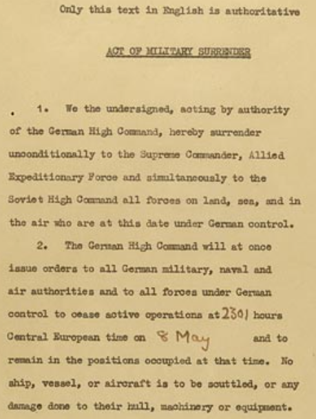 Our Documents Surrender of Germany 1945