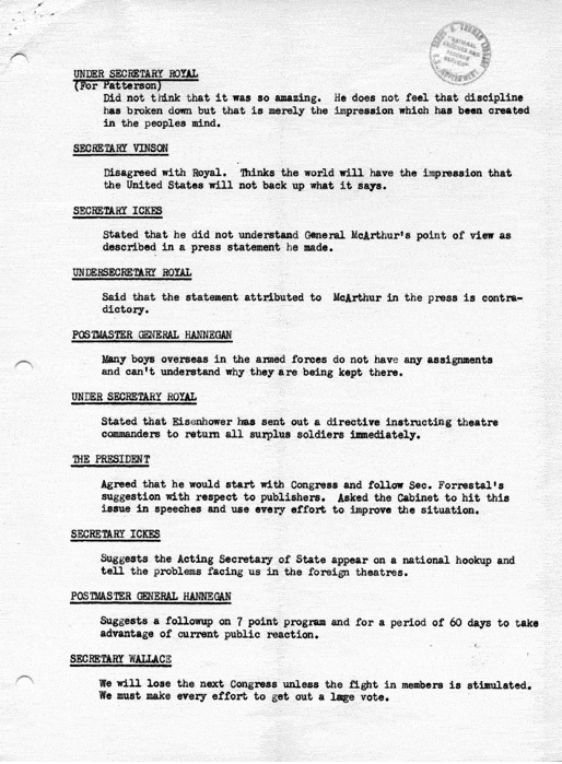 Cabinet Meeting Agenda and Minutes January 11 1946 January 11 18 25 1946 Notes on Cabinet Meetings White House File Set I Connelly Papers