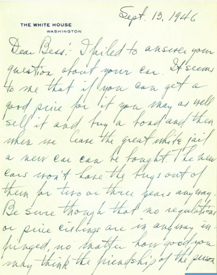 Letter from Harry S Truman to Bess W Truman September 13 1946 Truman Papers Family Business and Personal Affairs Papers