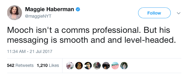 Maggie Haberman on Twitter Mooch isn t a comms professional But his messaging is smooth and and level headed
