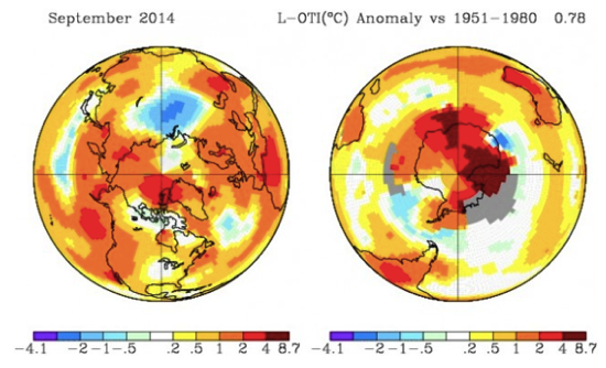 NASA Hottest September On Record Globally Pushes 2014 Closer To Hottest Year On Record ThinkProgress