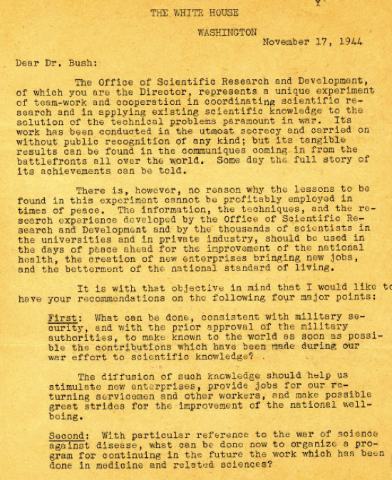 Copy of a letter from Franklin D Roosevelt to Vannevar Bush November 17 1944 Correspondence The Scientific War Work of Linus C Pauling