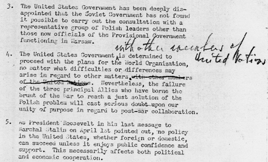 Memo Edward Stettinius to Harry S Truman April 23 1945 President s Secretary s File Truman Papers
