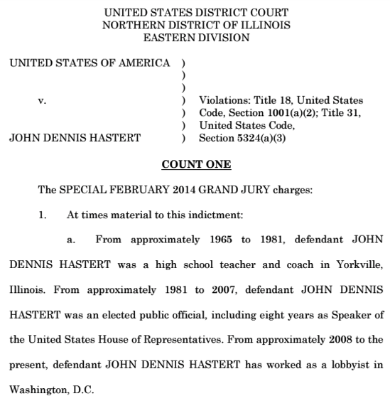 PDF Read the Hastert indictment Chicago Tribune