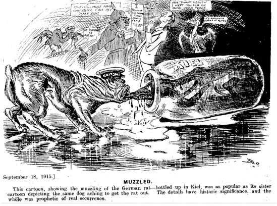 Papers Past Observer 20 September 1919 September 18 1915 MUZZLED This cartoon showing the muzzling of the German rat bottk up in truncated