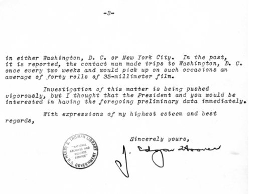 Truman Library J Edgar Hoover to Harry H Vaughan November 8 1945 President s Secretary s Files Truman Papers