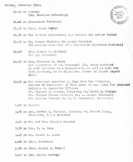 Daily Appointment Sheet for President Harry S Truman November 30 1945 Connelly Files Truman Papers