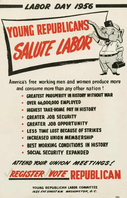 Retro Campaigns Labor Day 1956 Young Republicans Salute Labor