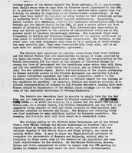 Memorandum Soviet Policy Toward the Western Powers April 4 1946 Harry S Truman Administration File Elsey Papers
