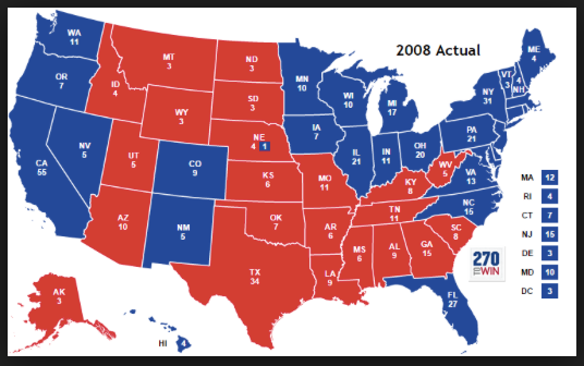 2008 electoral map Google Search