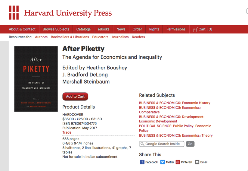 Cursor and After Piketty Heather Boushey J Bradford DeLong Marshall Steinbaum Harvard University Press