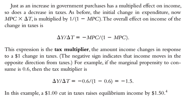 Mankiw Short Run Tax Cut