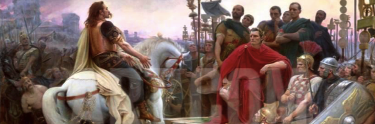 Vercingetorix Throws Down His Arms at the Feet of Julius Caesar 1899 Giclee Print by Lionel Noel Royer at Art com