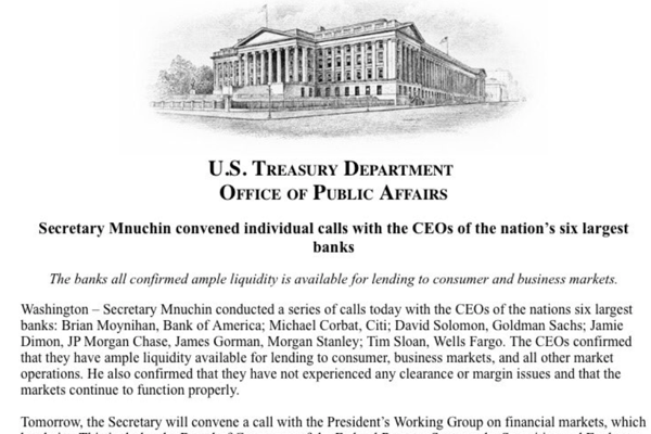 Steven Mnuchin on Twitter Today I convened individual calls with the CEOs of the nation s six largest banks See attached statement