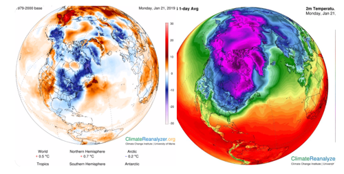 Stefan Rahmstorf on Twitter Earth is anomalously warm today but North America is cold A huge blob of icy Arctic air usually corralled up north by the polar vortex has escaped and moved south You can check the data here https t co